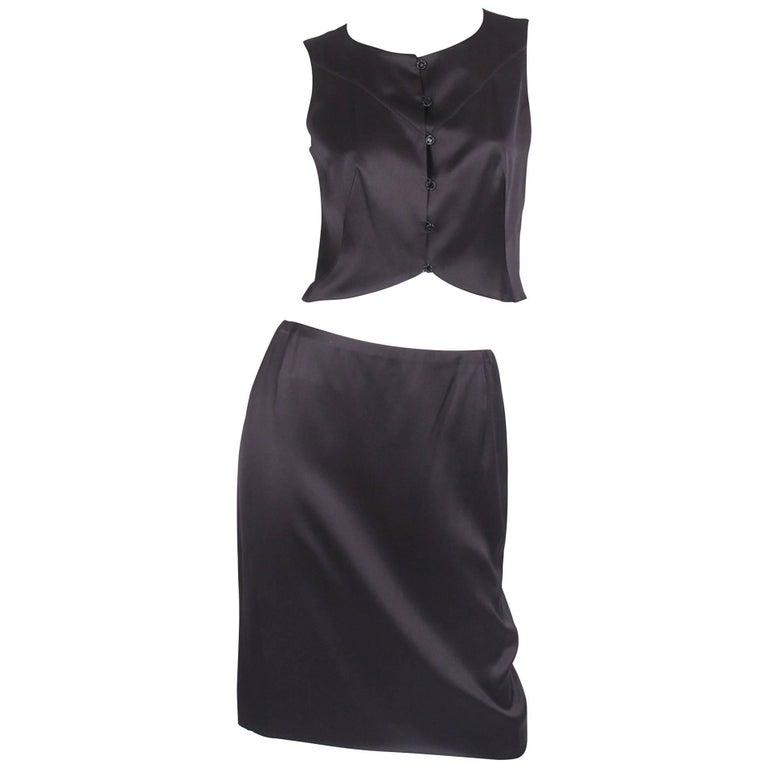 Chanel 2-pcs Silk Suit Top & Skirt - black
