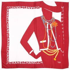 Chanel Shawl Silk - white/burgundy/gray/gold