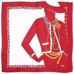 Chanel Shawl Silk - white/burgundy/gray/gold