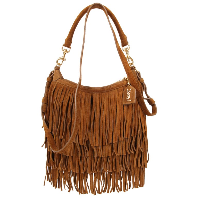 f2c8bee3bcb Yves Saint Laurent Emmanuelle Fringed Hobo Bag - brown at 1stdibs