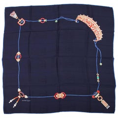 Cartier Silk Scarf - dark blue