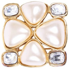 Chanel Pearl and Crystal Brooch - gold 1991
