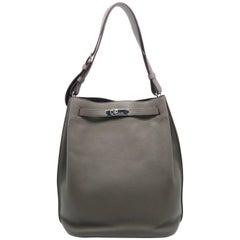 Hermes So Kelly Etain Taurillon Clemence Leather Silver Metal Shoulder Bag