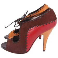 Salvatore Ferragamo Peep Toe Pumps - red/brown/camel