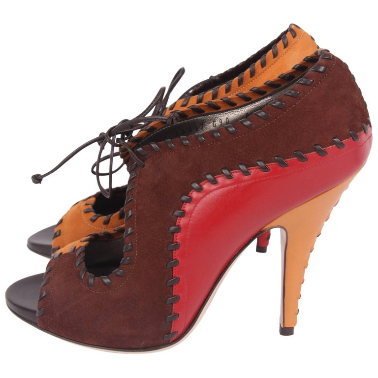 ced9be3e503 Salvatore Ferragamo Peep Toe Pumps - red brown camel For Sale at 1stdibs