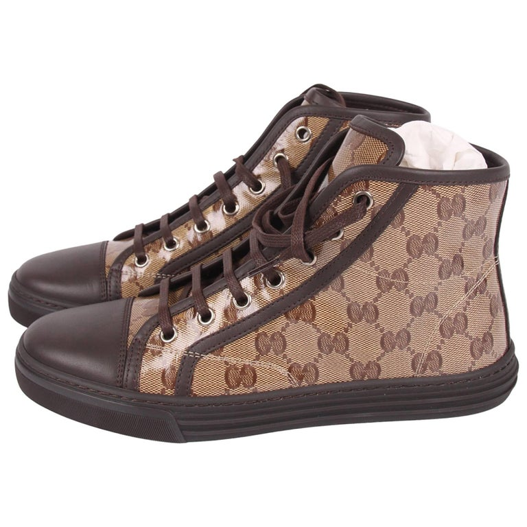 gucci crystal gg miro soft high top sneaker shoes brown for sale at 1stdibs. Black Bedroom Furniture Sets. Home Design Ideas