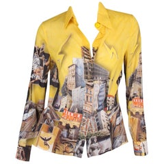Versace & Tim Roeloffs Art Print Silk Blouse - yellow