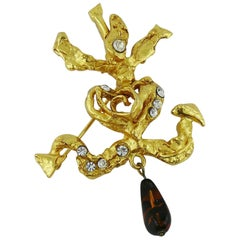 Christian Lacroix Vintage Camarguaise Cross Jewelled Brooch