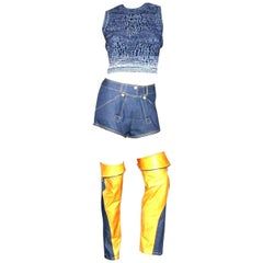 Christian Dior by John Galliano Denim Leather Shorts Knit Ensemble Outfit
