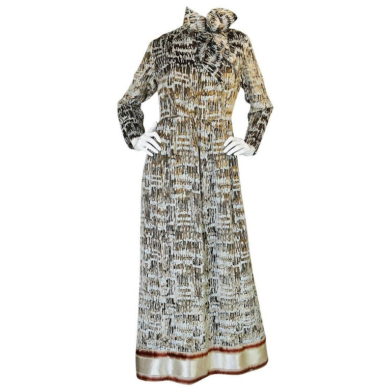 1960s Bill Blass Metallic Gold & Ivory Velvet Silk Dress