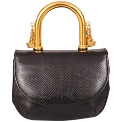 Judith Leiber Charming Black Karung Bag with Gold Charm Handle