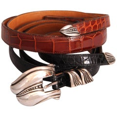Barry Kieselstein-Cord Sterling Silver Buckle with Black & Brown Alligator Belts