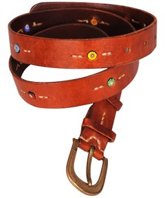 Henry Beguelin Buckle and Leather Belt with Millefiori Beads