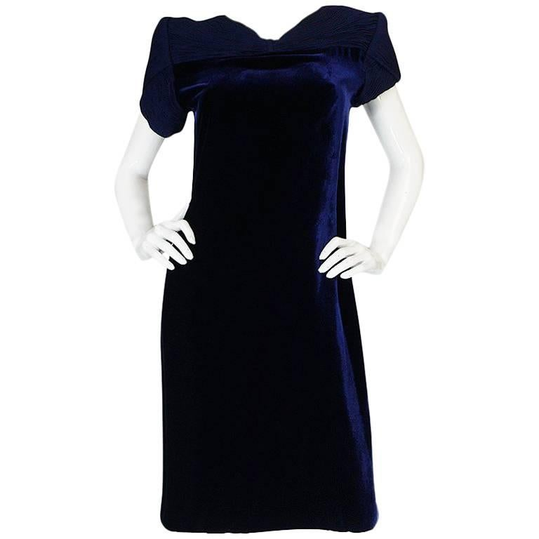 1980s Valentino Haute Couture Blue Silk Velvet Shift Dress 1