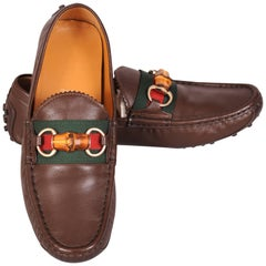 Gucci Brown Leather & Bamboo Driving Shoes Never Worn 38 1/2