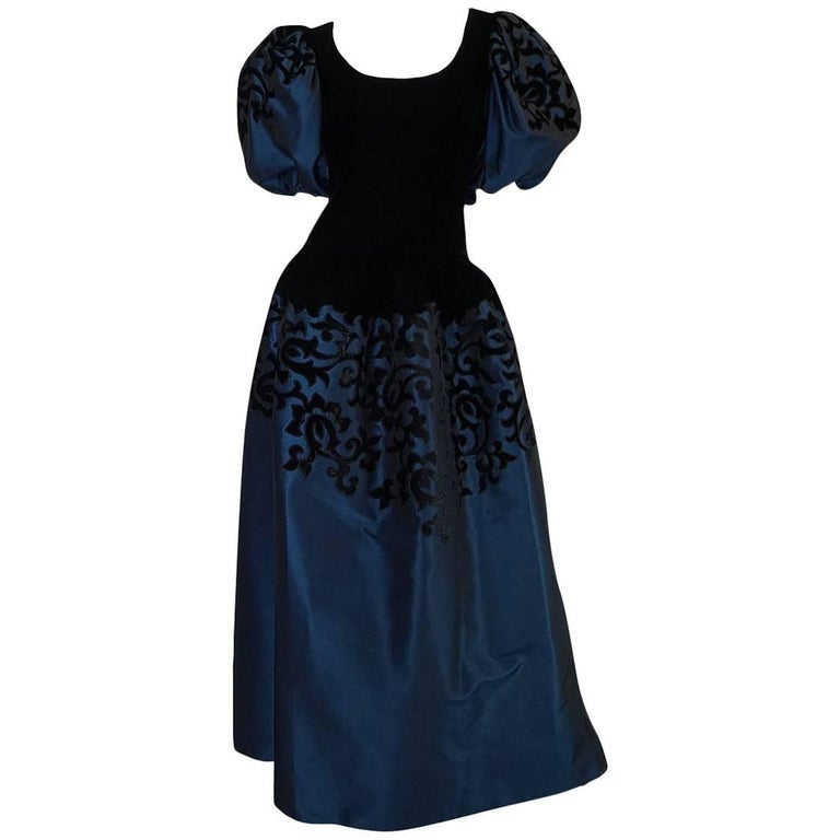 1980s Oscar de la Renta Deep Blue Silk & Velvet Applique Dress 1