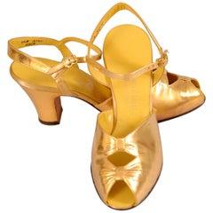 1930's Bonwit Teller Gold Kidskin Evening Shoes, Never Worn