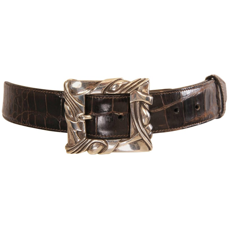 Barry Kieselstein-Cord Sterling Silver Buckle and Brown Alligator Belt