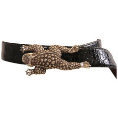 Barry Kieselstein-Cord Sterling Silver Frog Buckle and Black Alligator Belt