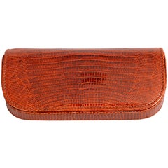 deVecchi Hamilton Hodge Rich Brown Lizard Eyeglass Case