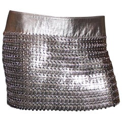Unique Dolce Gabbana Vintage Chainmail Silver Metallic Leather Skirt