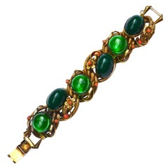 Oversized 1950s Green Glass Nouveau Revival Bracelet / Selro