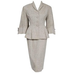 1952 Lilli-Ann Ivory Flecked Wool Rhinestone Pleated Bell-Sleeve Cocktail Suit