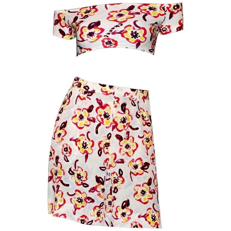 Chanel CC Logo Print Vintage Shorts Top Hot Pants Swim Suit Set Ensemble