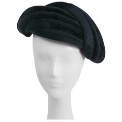 1950s Navy Blue Felt Hat