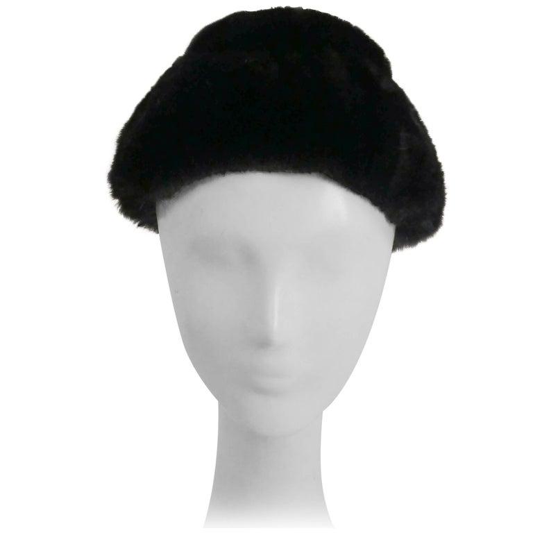 1960s Irene of New York Shorn Mink Hat For Sale