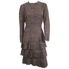 1980s Escada Drop Waist Pleated Dress