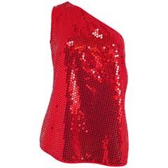 Dolce & Gabanna Red Sequin One Shoulder Top