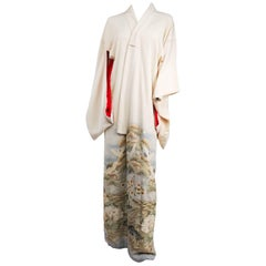 Cranes Over Hills & Waves White Silk Kimono