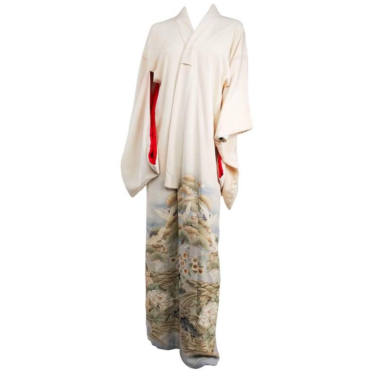 Cranes Over Hills & Waves White Silk Kimono