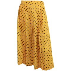 1980s Yellow Geometric Triangle Pleated Skirt