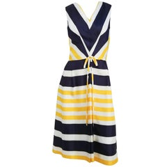 1960s Blue & Yellow Striped Pleated Dress