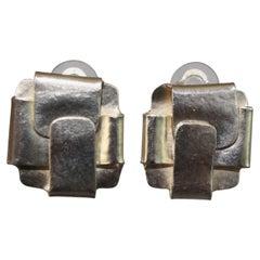 Herve van der Straeten Silver Pliage Clip Earrings