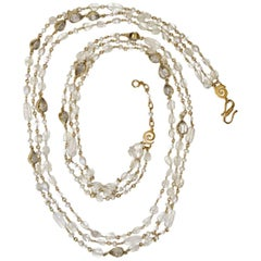 Goossens Paris Nepal Triple Long Necklace in Rock Crystal and Pearl