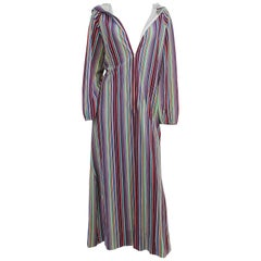 1970s Rainbow Striped Hooded Coverup