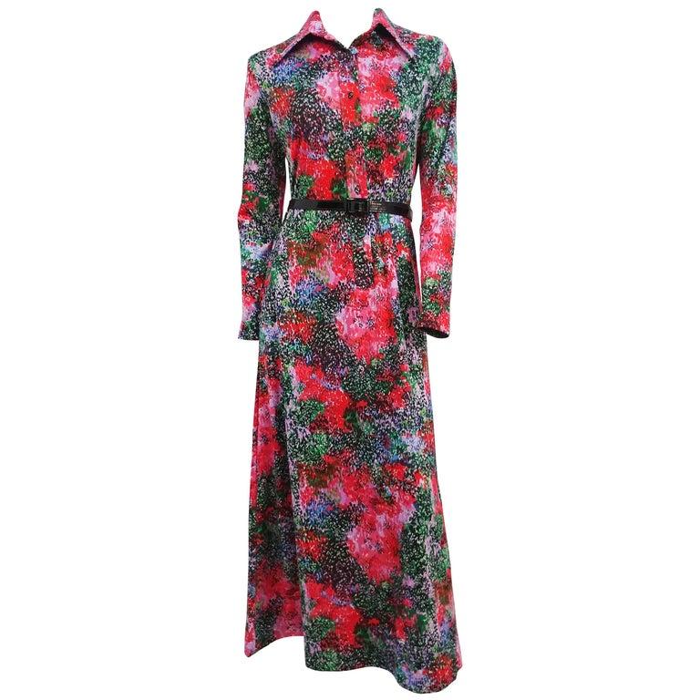 1970s Lanvin Printed Maxi Dress