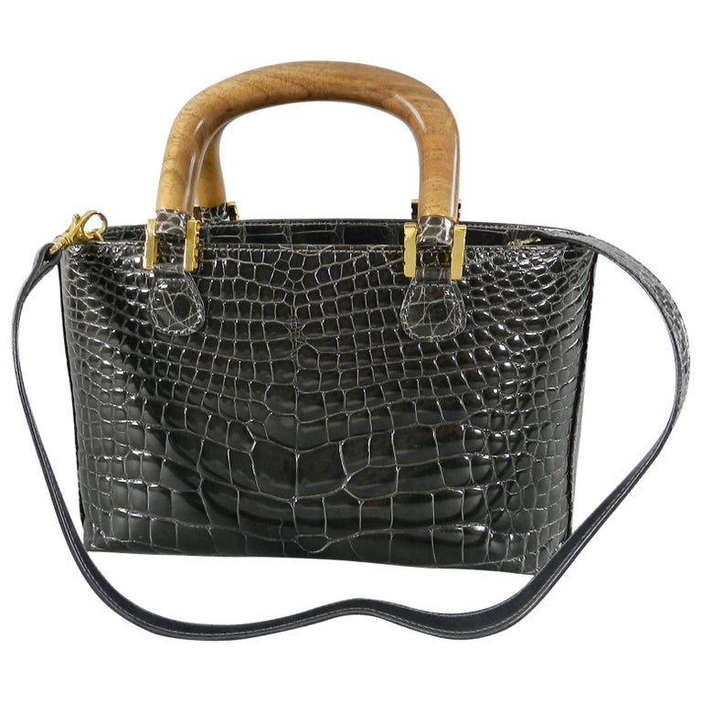 Lana Marks Dark Grey Crocodile Bag with Wood Handles For Sale