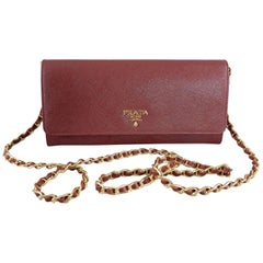 Prada Cerise Saffiano Leather Wallet on a Chain