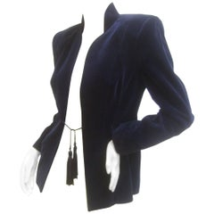 Ossie Clark Midnight Blue Velvet Jacket with Tassels. Early 1970's.