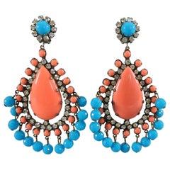 KJL Kenneth Jay Lane Vintage 1960's Huge Turquoise Coral Drop Statement Earrings