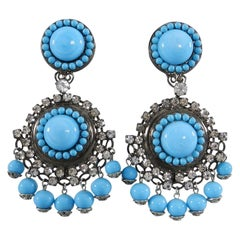 Lawrence Vrba Turquoise Glass and Rhinestone Drop Earrings