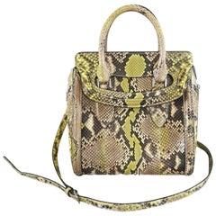 Alexander Mcqueen Small Lime Green Python Heroine Bag