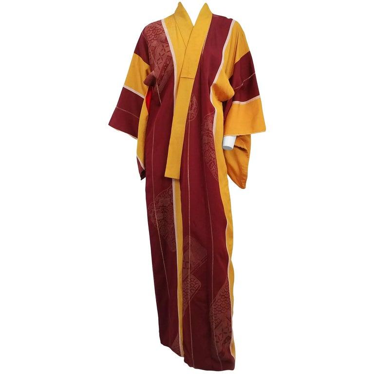 Yellow & Burgundy Striped Kimono