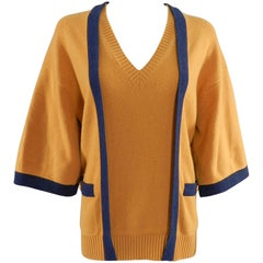 Chanel mustard and navy V-neck Cashmere sweater