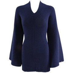 Chanel navy ribbed cashmere sweater with bell sleeves and knot back