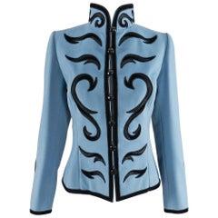 Yves Saint Laurent Final Collection 2002 Haute Couture Blue Lesage Jacket